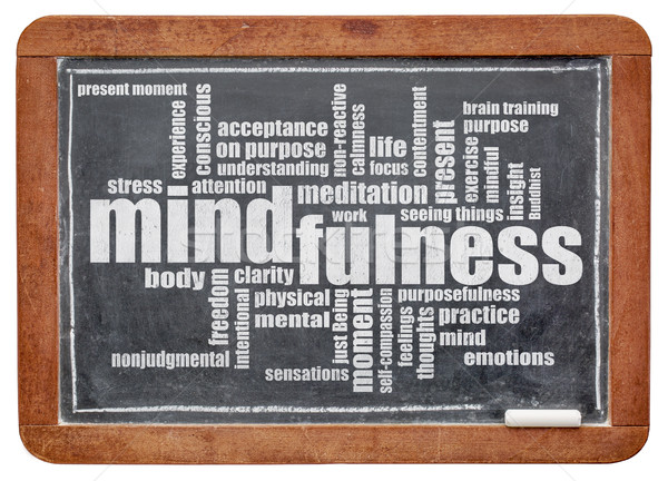mindfulness word cloud on blackboard Stock photo © PixelsAway