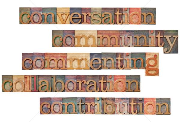 Közösségi média párbeszéd közösség együttműködés közreműködés kollázs Stock fotó © PixelsAway