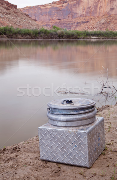 portable toilet on a shore of southwestern river Stock photo © PixelsAway