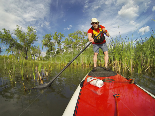 stand up paddling (SUP) on lake Stock photo © PixelsAway