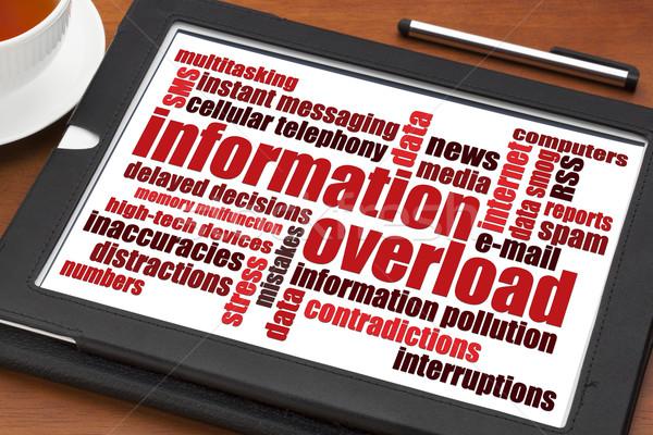 Informatie overbelasten woordwolk digitale tablet beker Stockfoto © PixelsAway