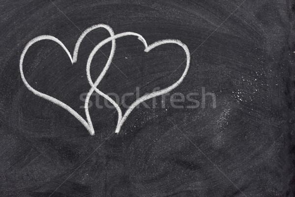 two hearts on blackboard Stock photo © PixelsAway