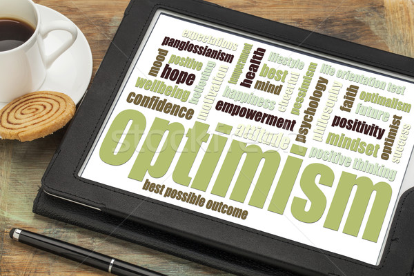 optimism word cloud on tablet Stock photo © PixelsAway