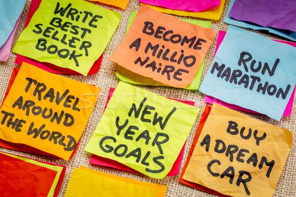 Nieuwjaar miljonair doelen kleurrijk sticky notes doek Stockfoto © PixelsAway