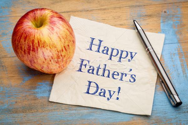 Boldog apa nap szalvéta boldog apák napját kézírás Stock fotó © PixelsAway