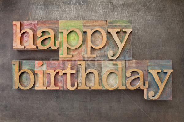 Stock photo: happy birthday in wood type