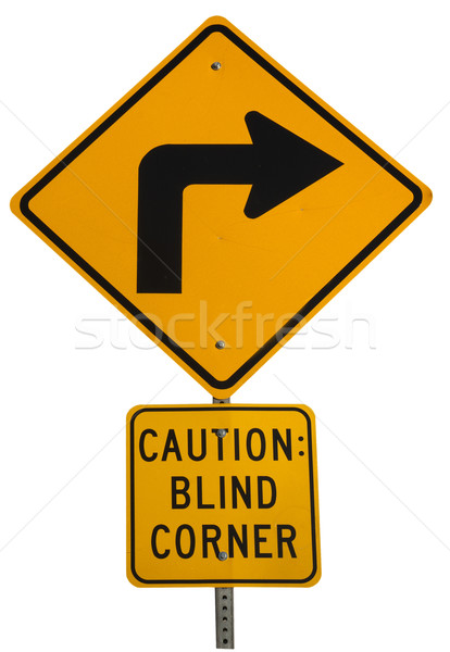 blind corner turning warning sign Stock photo © PixelsAway