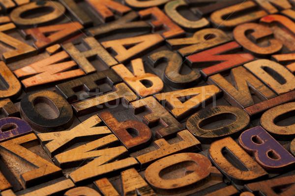 alphabet abstract in vintage printing blocks Stock photo © PixelsAway