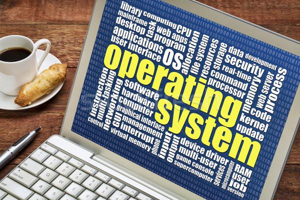 Besturingssysteem woordwolk laptop beker koffie server Stockfoto © PixelsAway