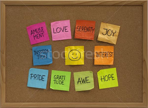 Emotikon tíz pozitív érzelmek közlöny tábla Stock fotó © PixelsAway
