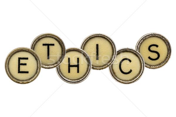 ética palabra máquina de escribir claves edad aislado Foto stock © PixelsAway
