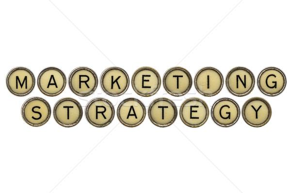 Strategia marketingowa tekst starych maszyny do pisania klucze odizolowany Zdjęcia stock © PixelsAway