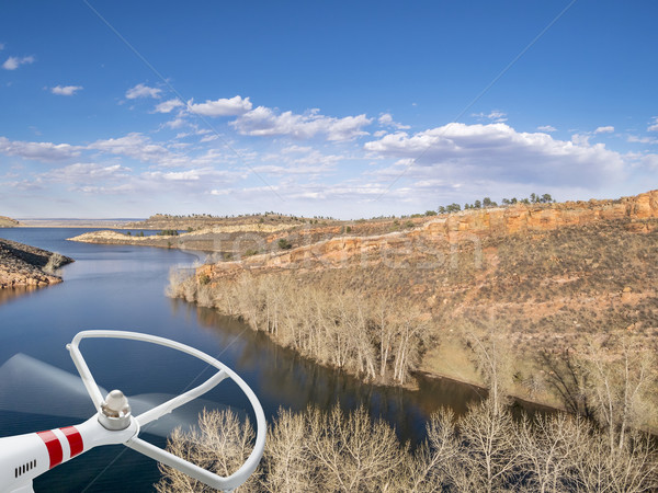 aeiral landscape with drone propeller Stock photo © PixelsAway