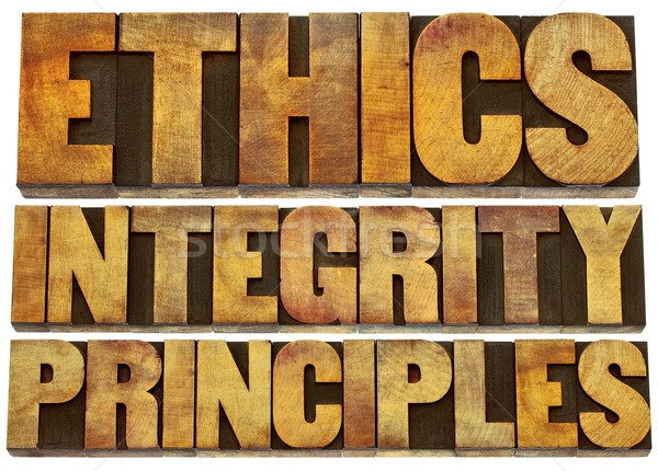 ethics, integrity and principles in wood type Stock photo © PixelsAway