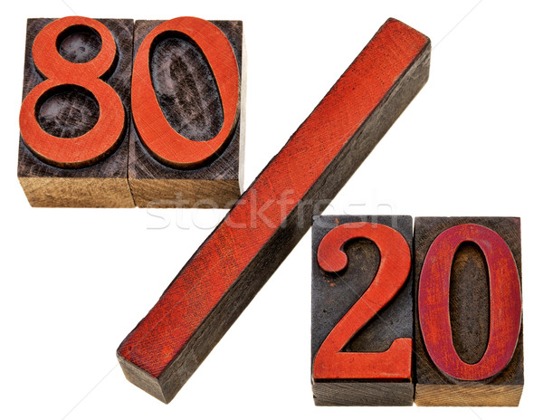 Pareto principle in letterpress wood type Stock photo © PixelsAway