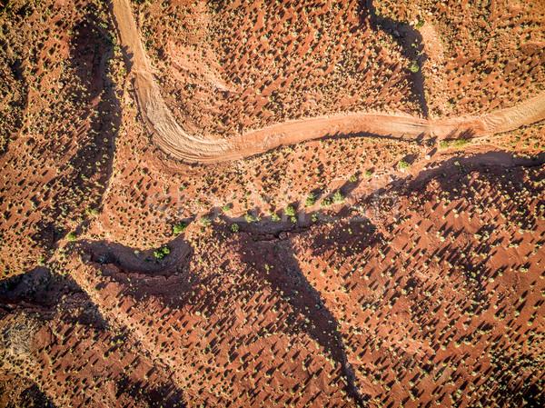 砂漠 日の出 道路 植生 ストックフォト © PixelsAway