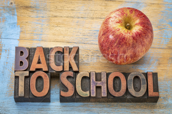 back to school sign in wood type Stock photo © PixelsAway