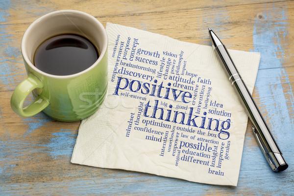 Positivo pensando nuvem da palavra letra guardanapo copo Foto stock © PixelsAway