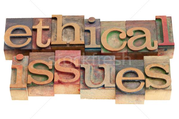 Ethisch woorden vintage hout afdrukken Stockfoto © PixelsAway