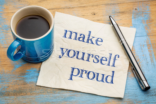 Gyártmány magad büszke szalvéta kézírás csésze Stock fotó © PixelsAway