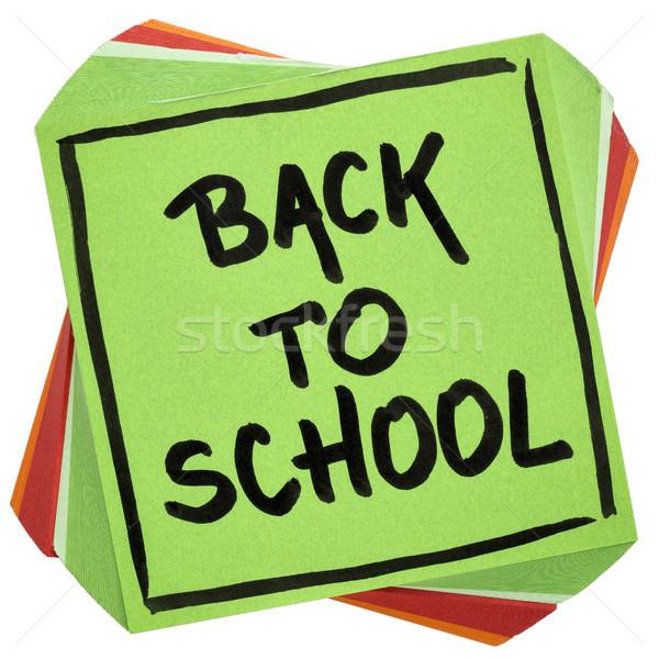 Okula geri hatırlatma dikkat el yazısı siyah mürekkep Stok fotoğraf © PixelsAway