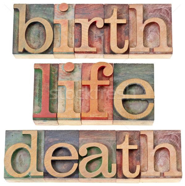 Geburt Leben Tod Worte isoliert Jahrgang Stock foto © PixelsAway
