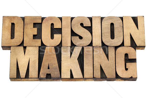 La toma de decisiones aislado texto madera tipo Foto stock © PixelsAway