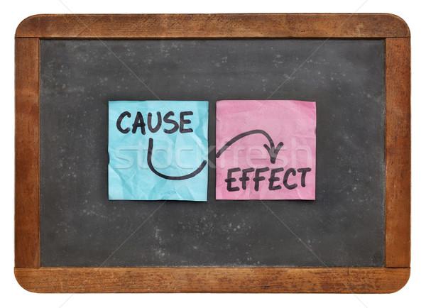 Veroorzaken effect kleurrijk sticky notes vintage Blackboard Stockfoto © PixelsAway