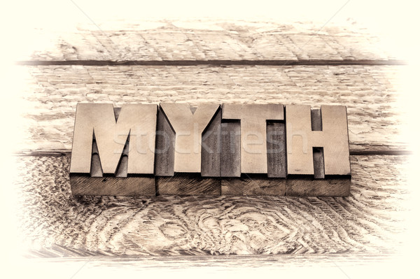 myth word in vintage letterpress wood type Stock photo © PixelsAway