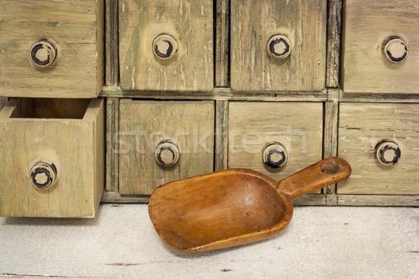 empty rustic wooden scoop Stock photo © PixelsAway