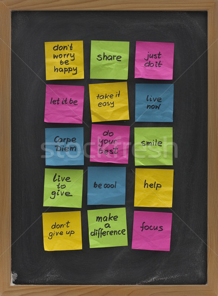 blackboard with uplifting and motivational reminders Stock photo © PixelsAway