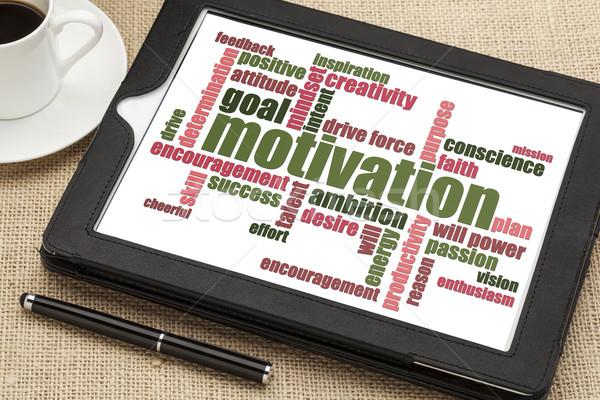 Сток-фото: мотивация · слово · облако · цифровой · таблетка · Кубок · кофе