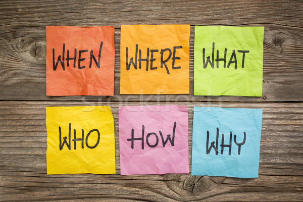 Lluvia de ideas la toma de decisiones qué preguntas incertidumbre colorido Foto stock © PixelsAway