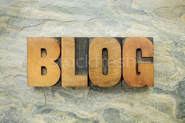 blog word in wood type Stock photo © PixelsAway