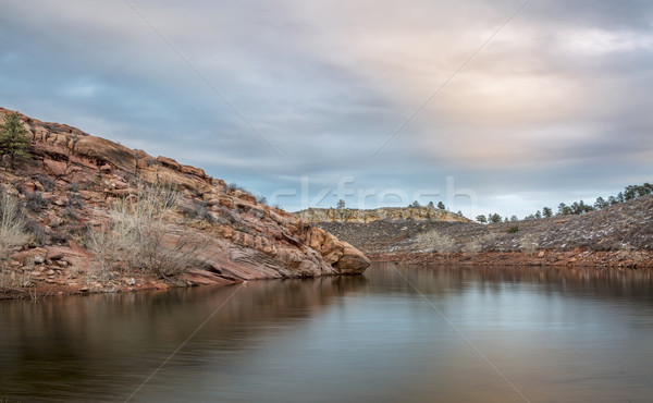 dusk over mountain lake Stock photo © PixelsAway
