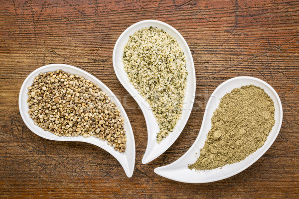 hemp seeds, hearts and protein powder Stock photo © PixelsAway