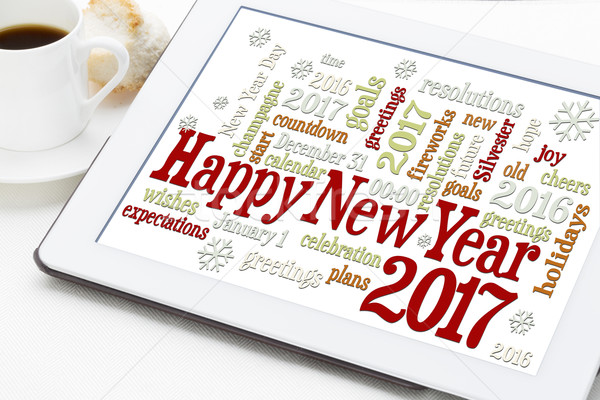 Stok fotoğraf: Happy · new · year · tahta · kelime · bulutu · dijital · tablet