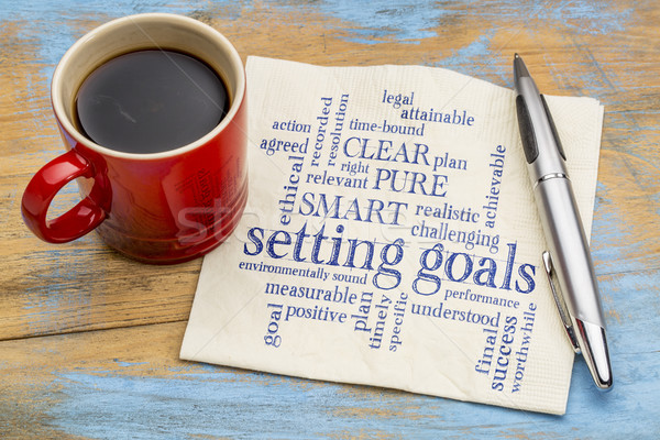 setting goals word cloud on napkin Stock photo © PixelsAway