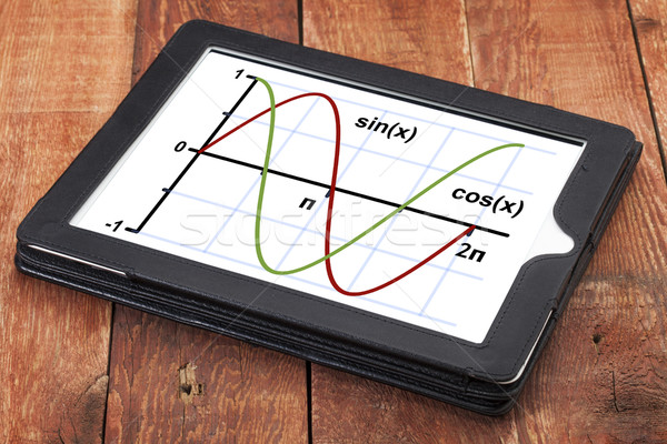 sine and cosine function graph on tablet Stock photo © PixelsAway