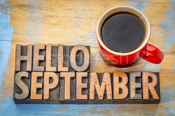 Hello September  word abstract in wood type Stock photo © PixelsAway