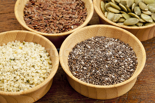 Stock photo: chia and other healthy seeds