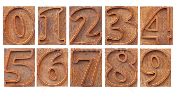 outlined numbers in letterpress type Stock photo © PixelsAway