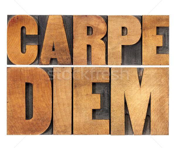 Carpe Diem in wood type Stock photo © PixelsAway
