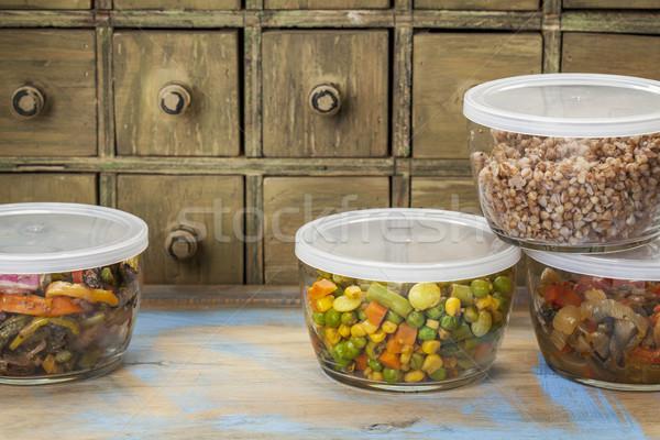 Vacsora maradék zöldségek keverés üveg fiók Stock fotó © PixelsAway