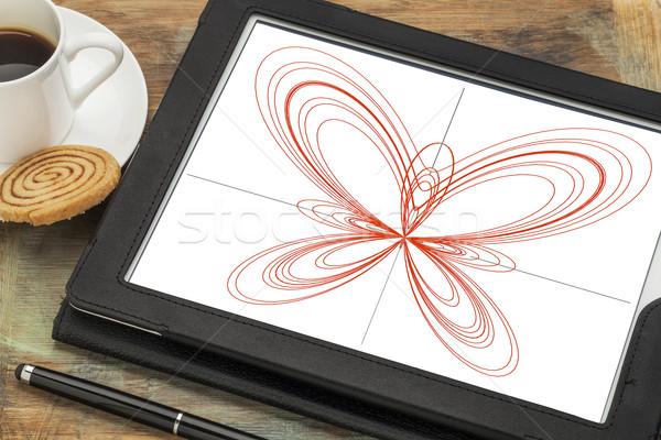 Photo stock: Papillon · courbe · numérique · comprimé · graphique · écran