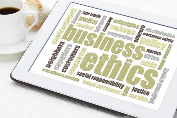 Business etica word cloud digitale tablet Cup Foto d'archivio © PixelsAway