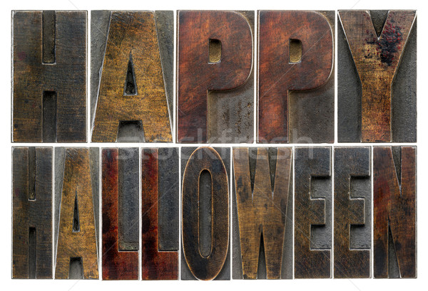 Happy Halloween in wood type Stock photo © PixelsAway
