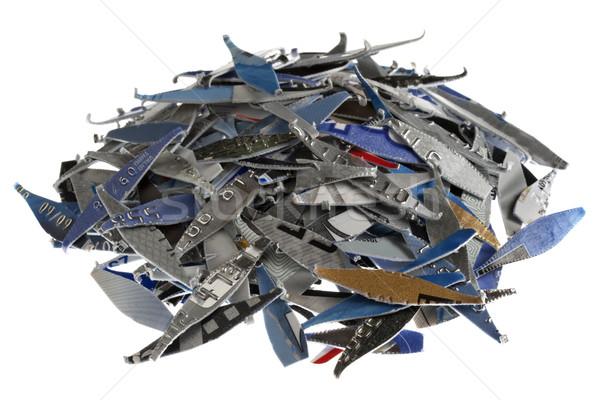 Hitelkártyák köteg öreg hitelkártya izolált fehér Stock fotó © PixelsAway