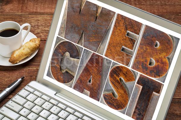 webcast word  on laptop screen Stock photo © PixelsAway