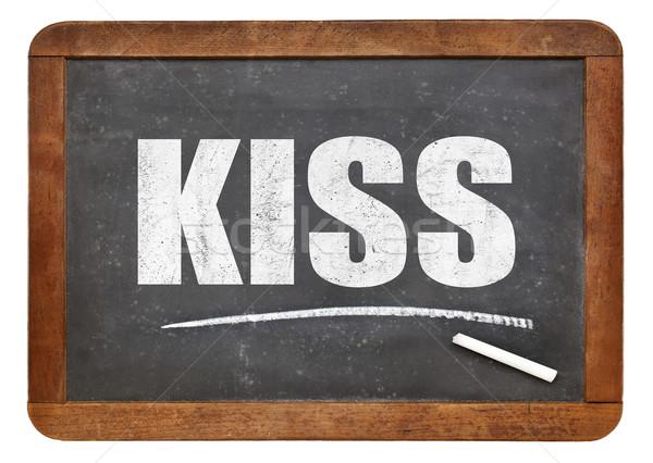 поцелуй акроним доске простой глупый белый Сток-фото © PixelsAway